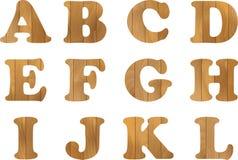 Het houten Alfabet, vector plaatste met houten Brieven, voor Tekstbericht, Titel of Emblemenontwerp Stock Afbeeldingen