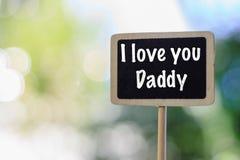 Het houten bordetiket met woord I houdt van u Papa royalty-vrije stock fotografie