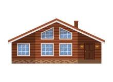 Het houten bruine die huis van het land, plattelandshuisje, chalet, villa, op witte achtergrond wordt geïsoleerd stock illustratie