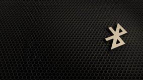 het houten 3d symbool van bluetoothpictogram geeft terug stock illustratie
