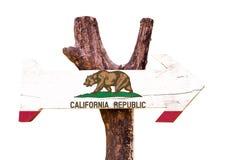 Het houten die teken van Californië op witte achtergrond wordt geïsoleerd Stock Afbeeldingen
