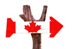 Het houten die teken van Canada op witte achtergrond wordt geïsoleerd Stock Foto's
