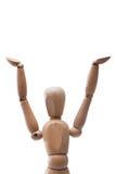 Het houten gebaar van de poppenholding royalty-vrije stock fotografie