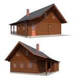 Het houten huis van het hout Stock Afbeeldingen