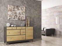Het houten kabinet tegen van concrete 3d muur geeft terug vector illustratie