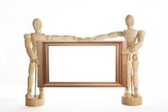 Het houten Ledenpopconcept stelt binnen met Houten Kader Stock Foto