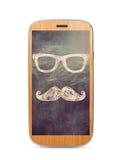 Het houten mobiele aanrakingsscherm Stock Fotografie
