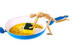 Het houten model maakt pan schoon Stock Foto's