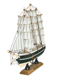 Het Houten Model van de schipzeilboot op een Witte Achtergrond Stock Fotografie