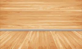 Het houten opruimen en vloer met decoratief wit Royalty-vrije Stock Foto