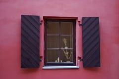 Het houten oude venster van de close-up singl Royalty-vrije Stock Afbeeldingen