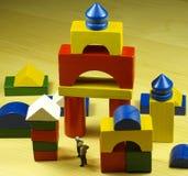 Het houten spel van de bouw Stock Afbeeldingen