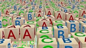 Het houten stuk speelgoed kubeert met brieven A, B, C stock videobeelden