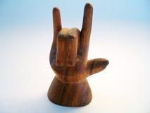 Het houten Symbool van de Gebarentaal Stock Afbeelding