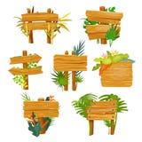Het houten teken met wildernis doorbladert, leeg kader stock illustratie