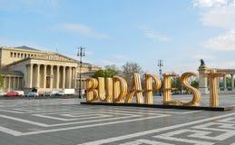 Het houten teken van Boedapest stock fotografie