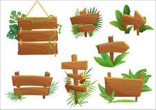 Het houten teken van het wildernisregenwoud met tropische bladeren met ruimte voor tekst De vectorillustratie van het beeldverhaa
