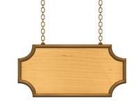 Het houten uithangbord hangen op metaalkettingen Royalty-vrije Stock Fotografie