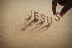 Het houten woord van JESUS op samengeperste raad Royalty-vrije Stock Fotografie