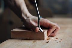 Het houtsnijwerk, het hoofd de handenwerk van ` s met een houten oppervlakte, een beroeps doet houten ambachten Stock Afbeelding