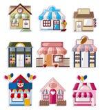 Het huis/de winkelpictogrammeninzameling van het beeldverhaal Stock Foto's