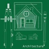 Het huis door een witte lijn op een groene achtergrond Stock Afbeelding