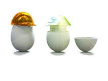 Het huis in ei en het ei in 3d bouwhelm geven terug Stock Foto's