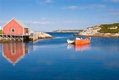 Het huis en de boten van de visser. Stock Foto