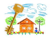 Het huis en de sleutel van de tekening Royalty-vrije Stock Afbeeldingen