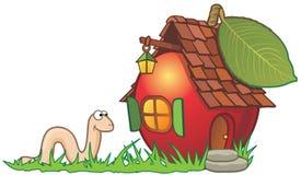 Het huis en de worm van de appel stock illustratie
