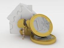 Het huis en het geld van het raadsel. Stock Foto's