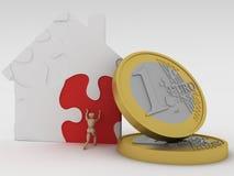 Het huis en het geld van het raadsel. royalty-vrije stock afbeeldingen