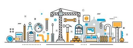 Het huis en het huis remodelleren het proces van de reparatiedienst voor websitebanner Stock Afbeelding