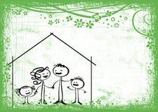 Het huis en het platteland van de familie Royalty-vrije Illustratie
