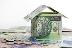 Het huis gemaakte ââof krediet en de bouw van het poetsmiddelgeld Stock Afbeeldingen