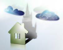Het huis giet een schaduw in de vorm van een kasteel. Royalty-vrije Stock Foto