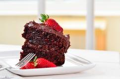 Het huis maakte de cake van de stokchocolade stock afbeelding