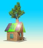Het huis met 3d zonnepanelen, geeft terug Stock Afbeeldingen