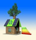 Het huis met 3d zonnepanelen, geeft terug Stock Afbeelding