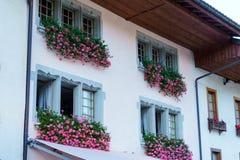 Het huis, met dozen met een geranium, Gruyeres, Switz wordt verfraaid die stock foto