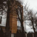 Het huis met moderne architectuur royalty-vrije stock afbeeldingen