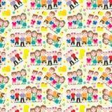 Het Huis Naadloze Pattern_eps van de familie Stock Fotografie