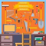 Het huis remodelleert hulpmiddelen Bouwconcept met vlakke pictogrammen Vlakke vectorillustratie Stock Foto