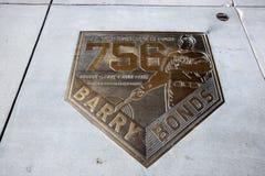 Het Huis van Barry Bonds stelt Plaque in werking stock foto