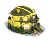 Het huis van het bouwconcept in de vorm van een 3d bouwhelm geeft op wit terug vector illustratie