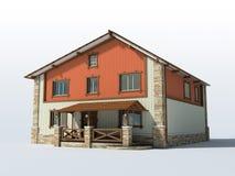 Het huis van de baksteen dat op witte achtergrond wordt geïsoleerdp Stock Foto's