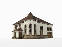 Het huis van de baksteen op witte achtergrond Stock Afbeelding