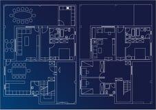 Het huis van de blauwdruk Royalty-vrije Stock Afbeeldingen