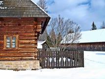 Het huis van de boer in Pribylina. stock fotografie