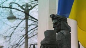 Het huis van het de bouwparlement van Verkhovnarada op hrushevsky straat Het Parlement van de Oekra?ne Verkhovna Rada in Kiev, de stock footage